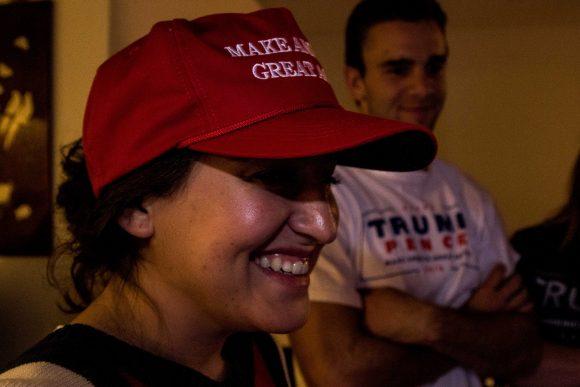 Venessa smiles as Trump wins. (Jackson Barnett/CU Indpente)