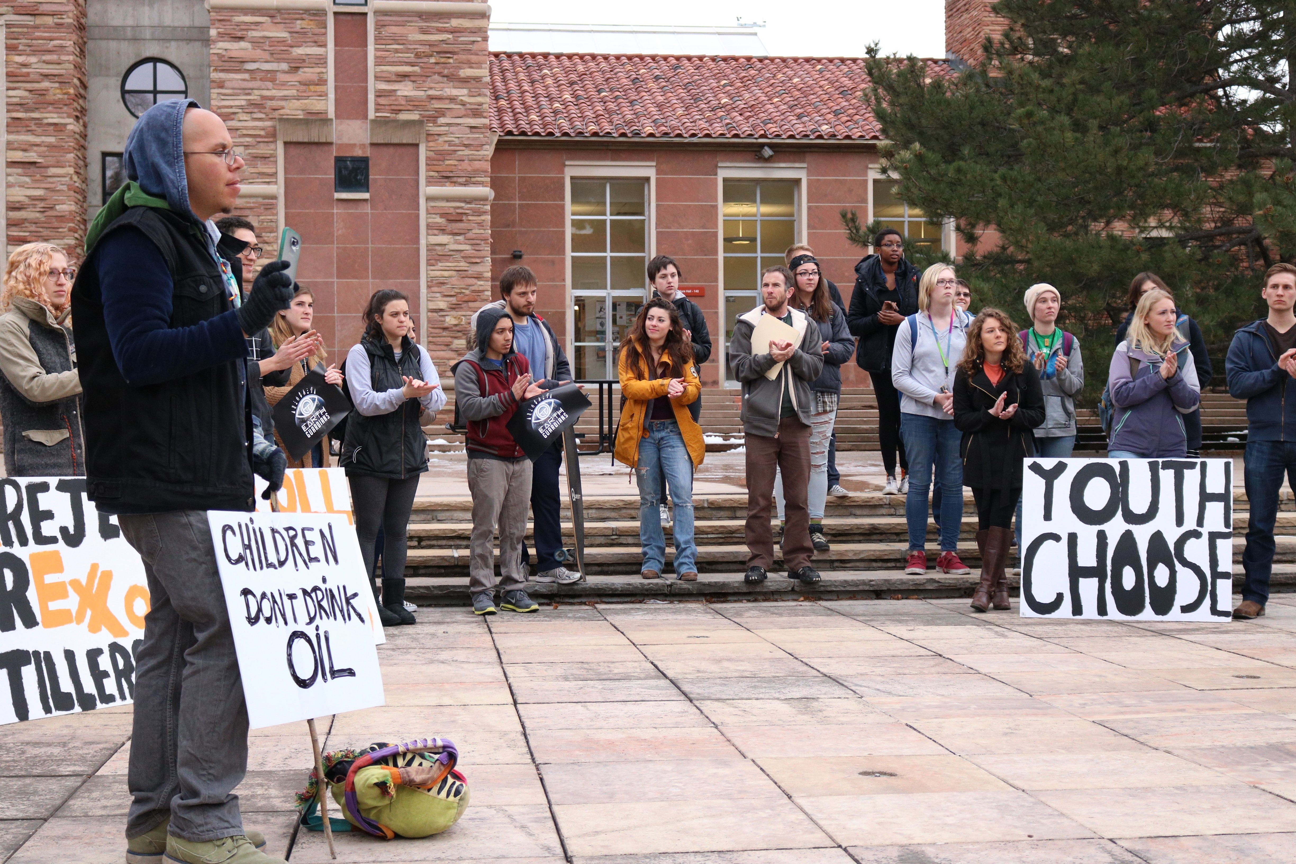 Environmental activists walk out of class to rally at UMC