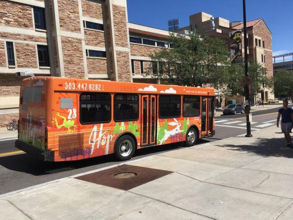 HOP bus on campus