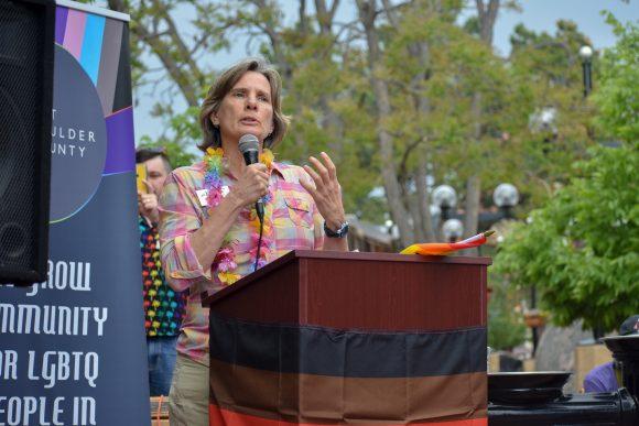 Mayor of Boulder Suzanne Jones speaks at Rainbows Over Pearl.