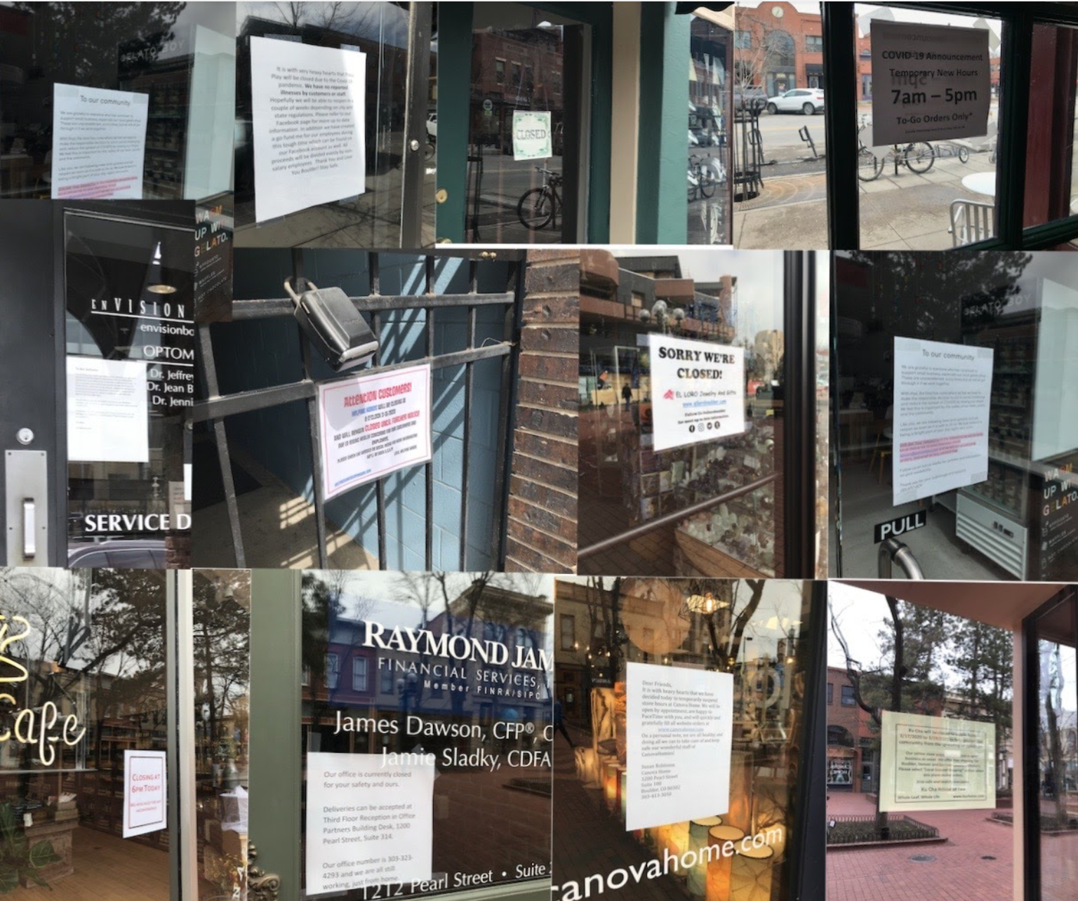 A number of restaurants have signs explaining their closure or takeout-only rules. Photo by Mairead Brogan.